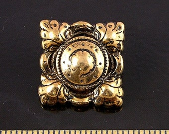Vintage Gold Feathered Shield  Buttons, 4 buttons