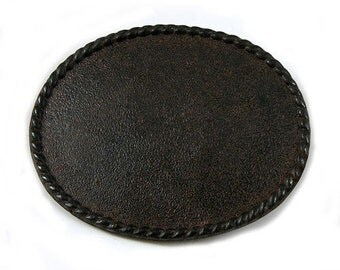 2 Belt Buckle Bases, Oval Textured,  Rustic, Made in USA, BU104RU