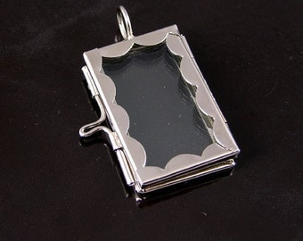 4 Our Glass Postage Stamp Edge Locket Pendants, Scalloped Photo Frame, G2335.79