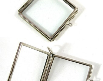 6 Glass Lockets, Frame Pendants, hinged diag. square, silver or copper, G2053