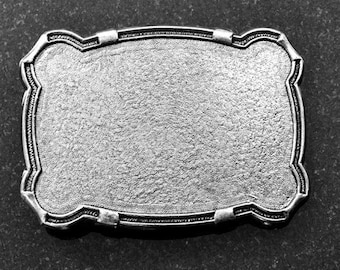 2 Belt Buckle Bases, Classic Western Shape, Vintage Silver, Made in USA, BU105AS
