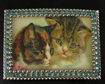 "Vintage Art Belt Buckle Cat Kitten ""Purring Friends"", ea"
