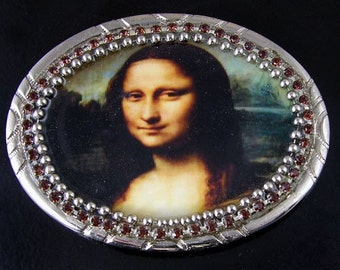 "Belt N Buckle Set, ""Mona Lisa"" Art, Da Vinci"