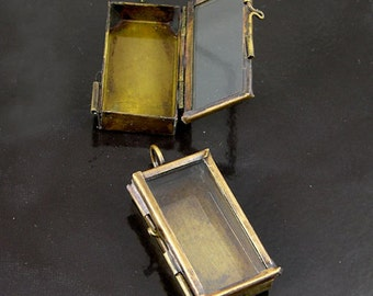 2 Our Glass Locket Jewelry Shadow Box Rectangle Vintage Brass Pendants, G2340.95