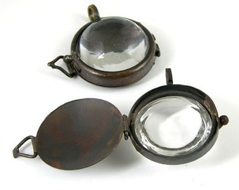 4 Magnifying Glass Lockets Pendants, Vintage Copper, Bubble Glass, G2344.99