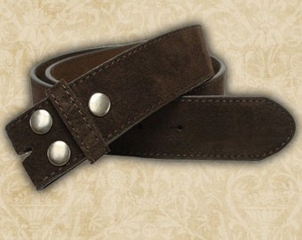 1 Belt Strap, Brown Suede Belting with snaps for interchangeable buckles, G339