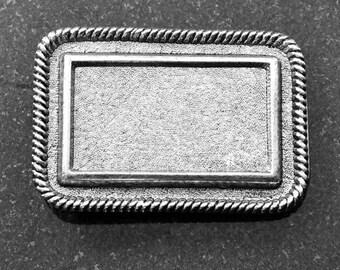 Belt Buckle Base, Vintage Silver or Copper, Rope Rectangle, BU102