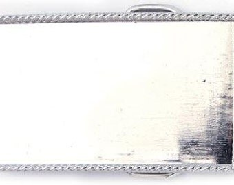 """3 Belt Buckle Bases, Silver Rope Edge 3"""" Rectangle, G329"""