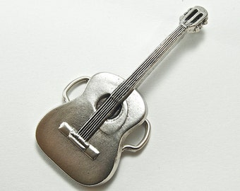 2 Buckles, Classic Guitar Belt Buckle, antique silver, BU129AS