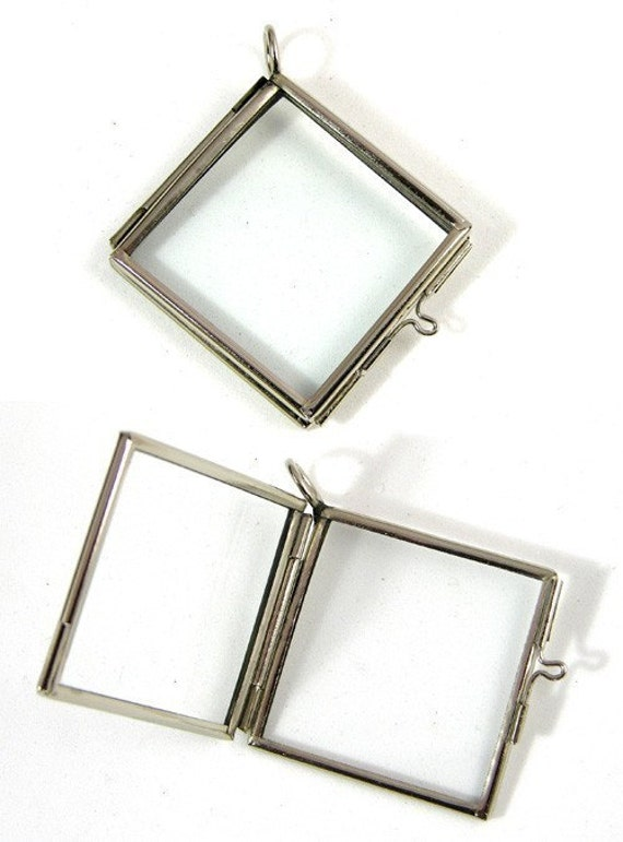 Hinged hanging copper frame 6 glass lockets frame pendants hinged diag square silver or copper g2053 aloadofball Gallery
