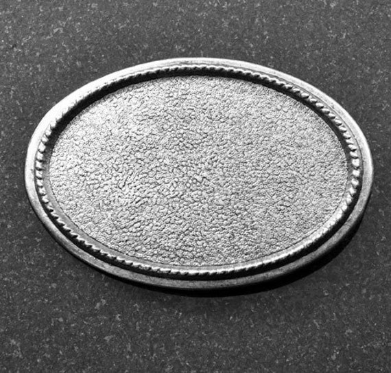 Belt Buckle Base, Oval Rope Edge, Antique Silver, Made in USA, BU106AS