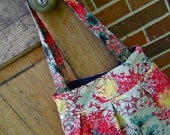 Cotton Suemi Fabric Pleated Purse--Turquoise Black Red and Yellow Print