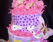 Butterfly Diaper Cake/Centerpiece/Gift...Three Trendy Burp Cloths
