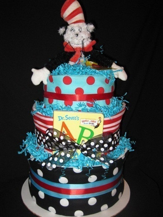 Dr. Seuss' Cat In The Hat Diaper Cake\/Centerpiece\/Gift..WITH THREE TRENDY BURP CLOTHS
