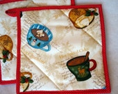 Quilted Potholders Winter Cup of Cheer