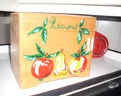 Vintage Nevco Wooden Recipe Box with Painted Fruit