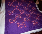 Handmade Red Hat Senior Lap Or Baby/Toddler  Accent Cotton Purple Quilt-NEWLY MADE 2015