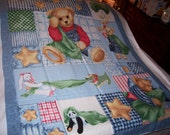 Baby Blue Jean Teddy Baby Cotton Quilt Fabric Panel-NEW