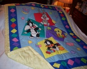 Handmade Baby 1998 Bright Looney Tunes Cotton Baby/Toddler Quilt-NEWLY MADE 2016