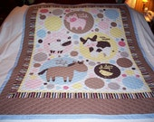 Baby Tossed Animals Reversible Baby/Toddler Cotton Quilt- NEWLY MADE 2016