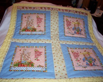 Handmade Baby Mary Engelbreit Cotton Flowers Toddler/Lap  Quilt-NEWLY MADE 2017