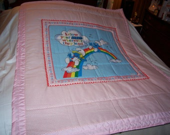 Baby Vintage Smurf Rainbow Cotton Baby Girl/Toddler Quilt-Made 2017