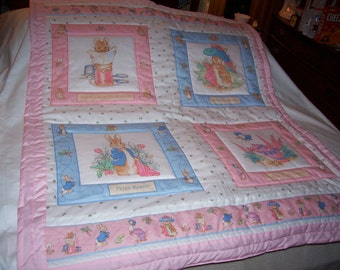 Baby Beatrix Potter and Peter Rabbit Baby/Toddler Girl Quilt-NEWLY MADE 2017