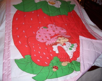 Baby Strawberry Shortcake Cotton Baby/Toddler Vintage Quilt-NEWLY MADE 2015
