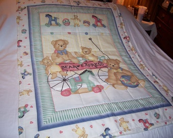 Handmade Baby Bear Express Reversible Cotton Baby Quilt-NEWLY MADE 2017