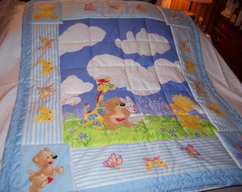 Handmade Baby Little Suzy's Zoo Characters Cotton Baby/Toddler Quilt-NEWLY MADE 2017