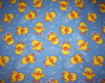 Baby Ducks and Bubbles Flannel Quilt Fabric BTY -NEW