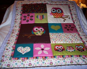 Handmade Baby Beautiful Owls and Hearts Cotton Baby/Toddler Quilt - Newly Made2016
