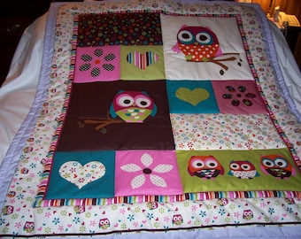 Handmade Baby Beautiful Owls and Hearts Cotton Baby/Toddler Quilt - Newly Made2017