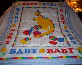 Handmade Baby Mother Dinosaur and Baby Dinosaur Cotton Baby/Toddler Quilt-NEW 2015