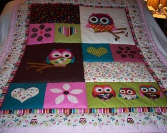 Handmade Baby Beautiful Owls and Hearts Cotton Baby/Toddler Quilt - Newly Made 2016