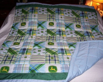 Handmade Baby John Deere Logos Plaid Cotton Baby/Toddler Quilt-NEWLY MADE 2015
