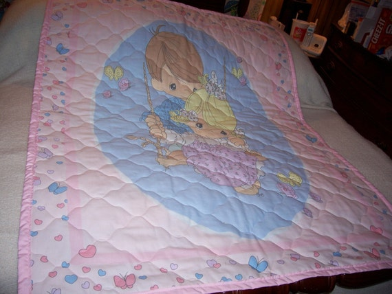 Baby Precious Moment Boy, Girl On Swing Reversible Cotton Baby Quilt-NEW