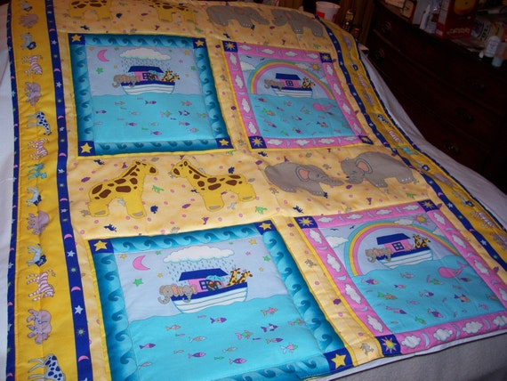 Handmade Baby  Noah's Ark & Animals Cotton  Baby/Toddler Quilt-NEWLY MADE 2014