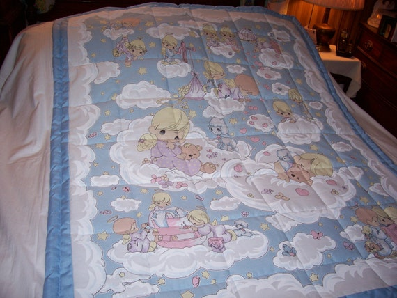 Handmade Baby Precious Moments Angels In The Clouds Baby/Toddler Quilt-Newly Made 2012