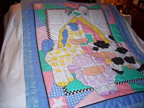 Handmade Baby Barnyard Animals Cotton Baby/Toddler Quilt-NEW