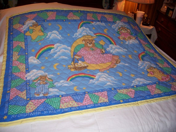 Handmade Baby Guardian Angel Bear Reversible Cotton Baby/Toddler Quilt-Newly Made 2013