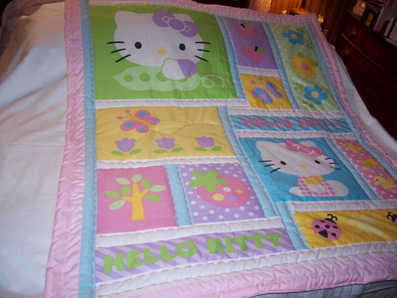 Handmade Baby Hello Kitty Cotton Girl Baby/Toddler Quilt-Newly Made 2012