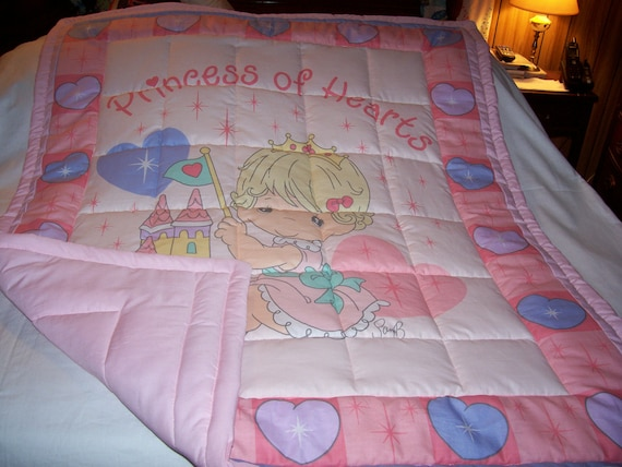 Handmade Baby Precious Moments Princess Of Hearts Baby/Toddler Quilt-Newly Made 2012
