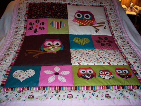 Handmade Baby Beautiful Owls and Hearts Cotton Baby/Toddler Quilt - Newly Made2012