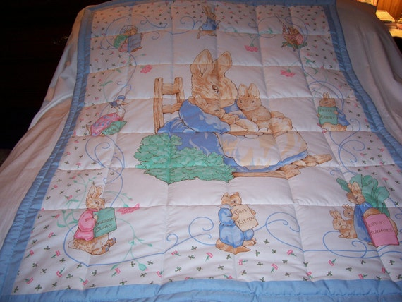 Handmade Baby Peter Rabbit and Beatrix Potter Boy's Cotton Baby/Toddler Quilt-NEW 2012