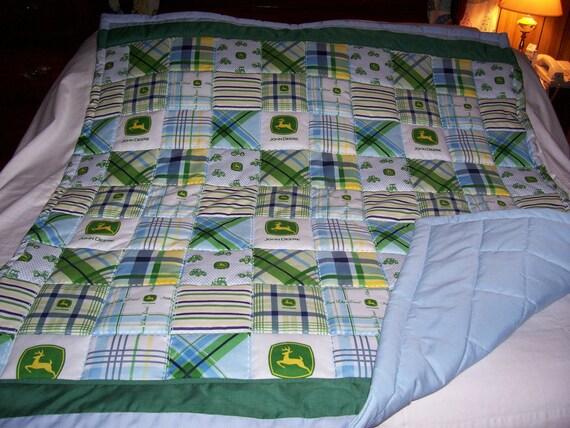 Handmade Baby John Deere Logos Plaid Cotton Baby/Toddler Quilt-NEW 2012