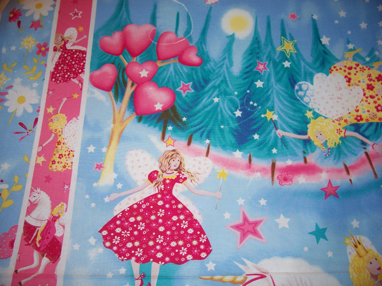Baby Unicorn Princess Fairies Baby Quilt Fabric Panel New