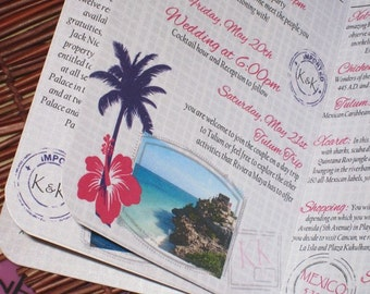Passport Wedding Invitation DEPOSIT: Pink and Purple Palm Tree Design