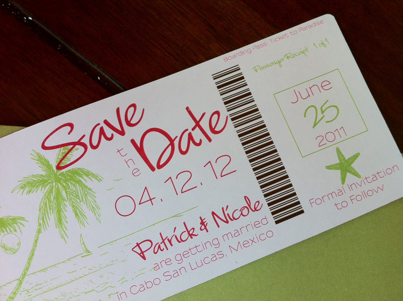 Boarding Pass Save the Date Magnet. Destination Wedding