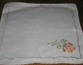 Vintage Square Counted Cross Stitch Embroidered White Cotton Doilie